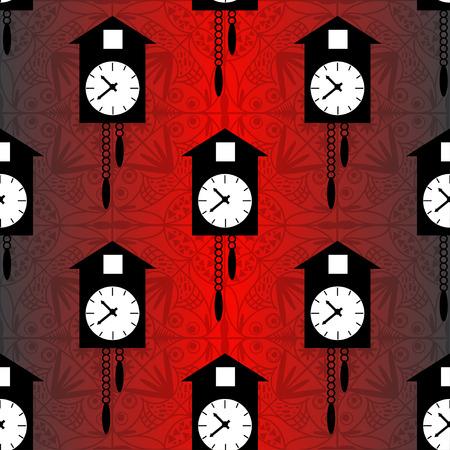reloj cucu: reloj de cuco en un fondo rojo vector patrón sin fisuras Vectores