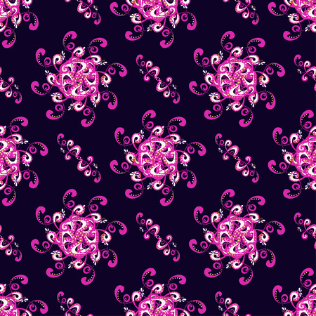 abstract pink: abstract pink flowers on dark background seamless pattern vector illustration