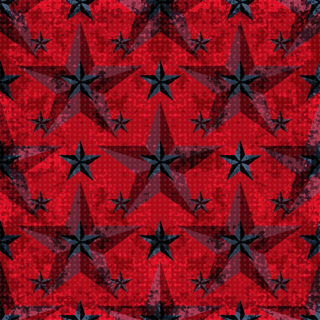 microcosmic: black and red stars on a red background. seamless pattern. vector illustration. grunge effect Illustration