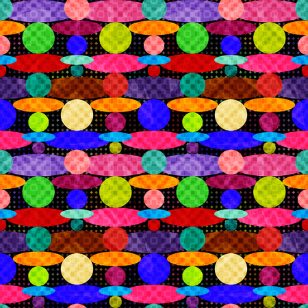 seventieth: colored circles on a dark background geometric seamless pattern vector illustration