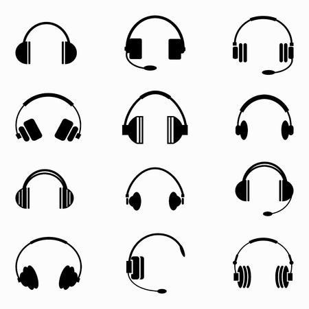 audifonos: auriculares de la música colección de símbolos monocromo Vectores