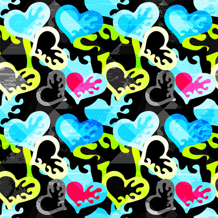 heart graffiti on a black background seamless pattern vector illustration