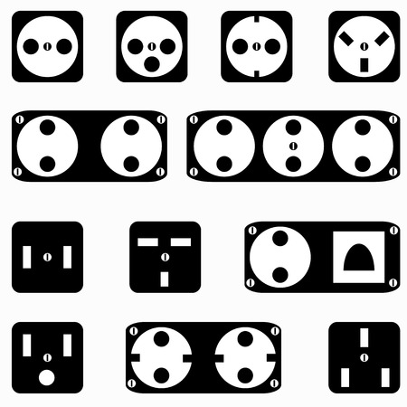 sockets: monochrome sockets symbols on a white background  Illustration