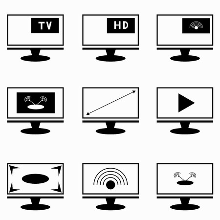 tv sets: TV sets and monitors collection of symbols Illustration
