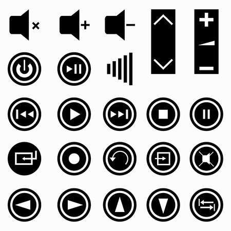 music buttons: music buttons monochrome symbols vector illustration