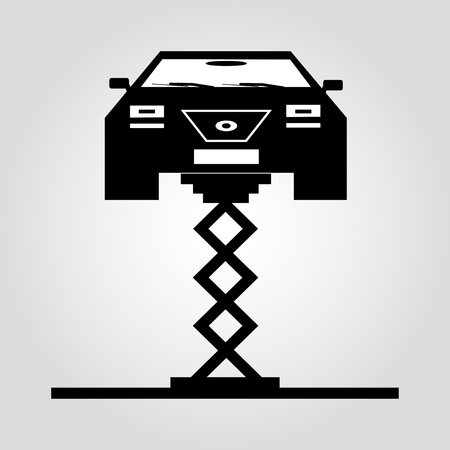 fixing: car on a jack monochrome symbol on white background