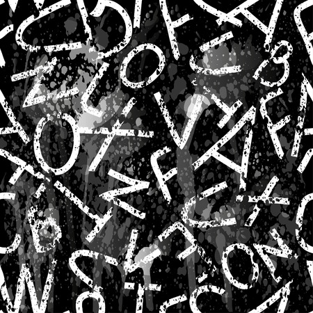 monochrome letters on a black background Graffiti grunge texture vector illustration