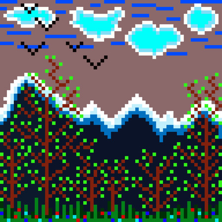 chowder: pixels mountain and forest vector illustration