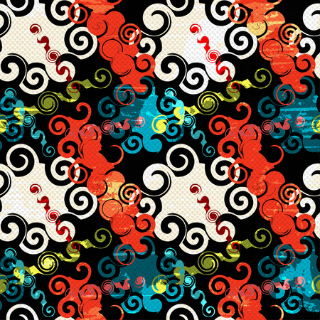 psychedelic: Graffiti on a black background Psychedelic seamless geometric pattern Illustration