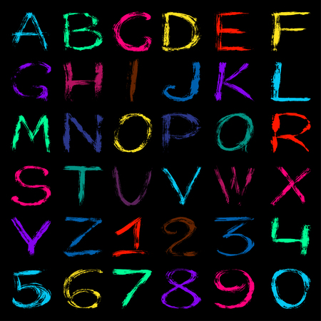 graffiti alphabet: colored graffiti alphabet and numbers on a black background vector illustration