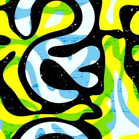 fashion art: Graffiti abstract seamless pattern grunge effect vector illustration