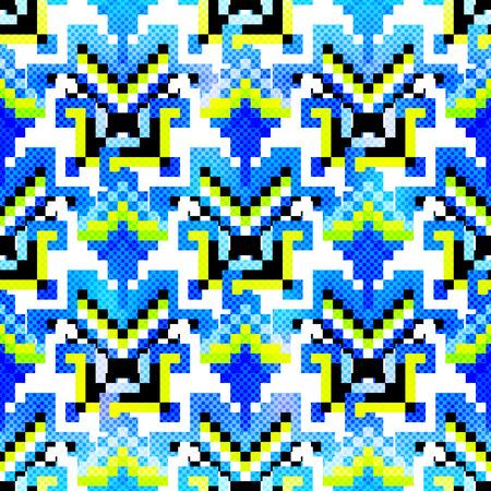 ピクセルの美しい抽象的な幾何学的なシームレス パターン ベクトル図