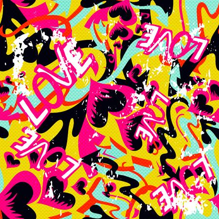 graffiti background: graffiti Valentine Day seamless background grunge texture Illustration