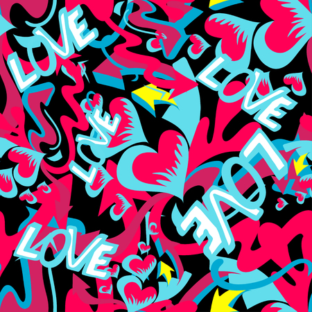 pomade: graffiti colored hearts seamless background vector illustration of grunge texture