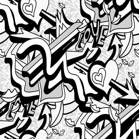 Le linee e il cuore monocromatici dei graffiti su un modello senza cuciture del fondo bianco vector l'illustrazione Archivio Fotografico - 51268456