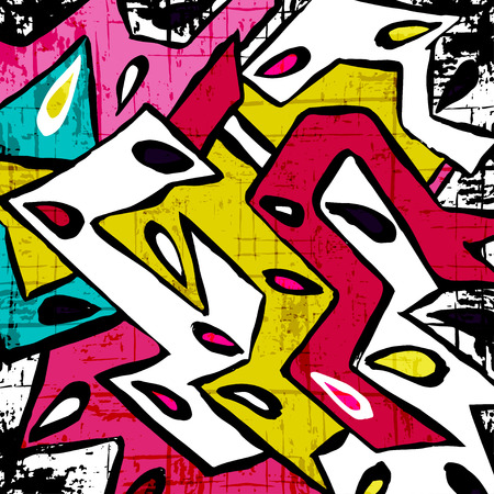 effect: abstract geometric objects graffiti grunge effect Illustration