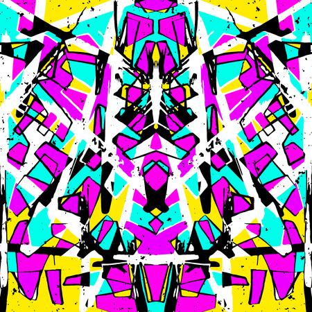 abstract geometric objects graffiti grunge effect Ilustração