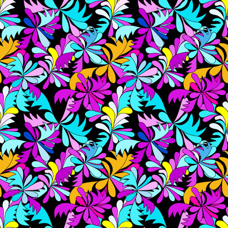 abstract psychedelic graffiti flowers seamless background