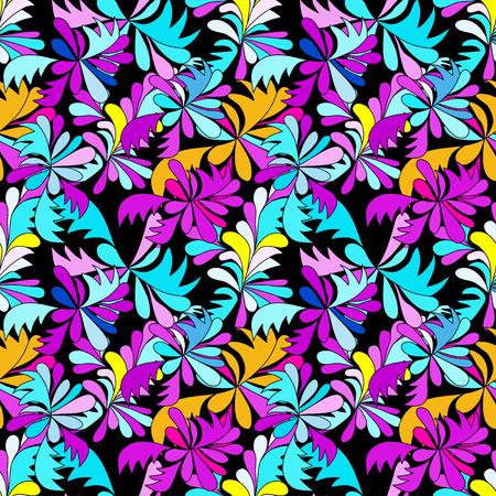 Astratto fiori psichedelici graffiti sfondo senza soluzione di continuità Archivio Fotografico - 52426026