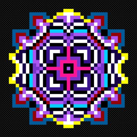 wickerwork: colored mandala pixels vector illustration Illustration