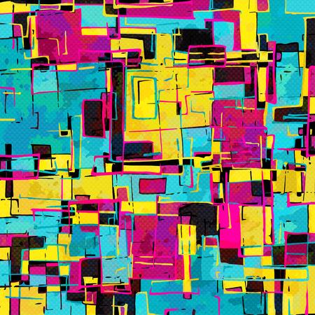 abstrakcyjne obiekty geometryczne efekt graffiti grunge Ilustracje wektorowe