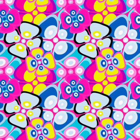 brightly colored abstract flowers on a black background seamless pattern vector illustration Illustration