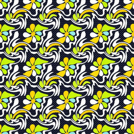 mainstream: abstract flowers on a black background seamless pattern graffiti