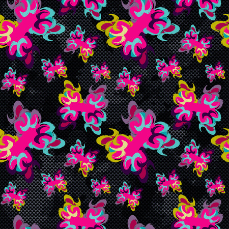 imprecise: brightly colored abstract flowers on a black background seamless pattern