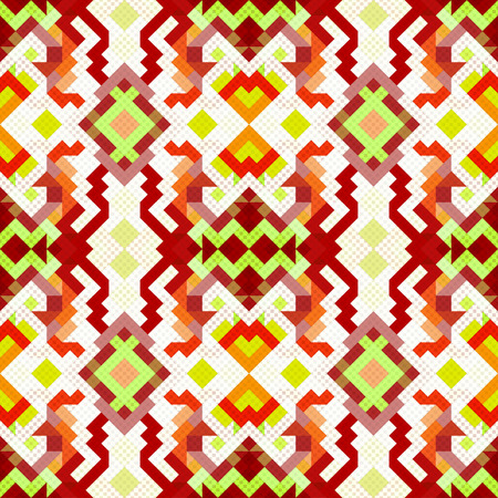 round table: colored pixels in retro style tribal vintage seamless pattern
