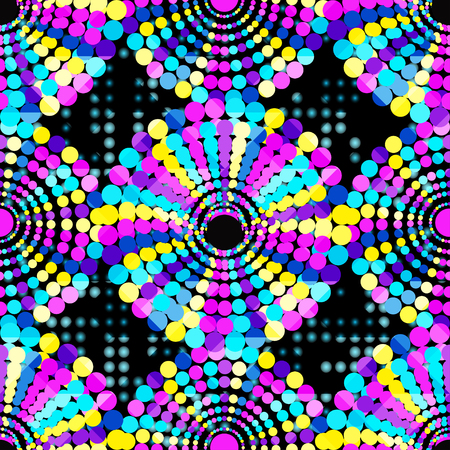 flawless: small beautiful colored circles on a black background Seamless geometric pattern