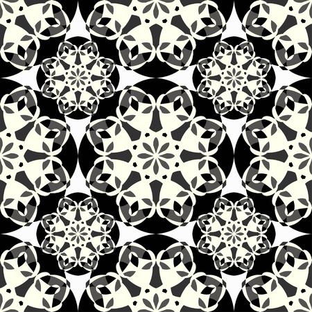lacework: monochrome pattern vintage ethnic ornament on a black background vector illustration