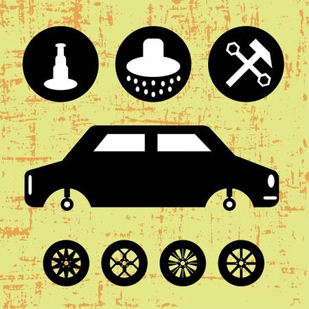 auto repair: monochrome symbols auto repair Illustration