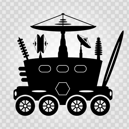 rover: Black and white graphic illustration lunar rover