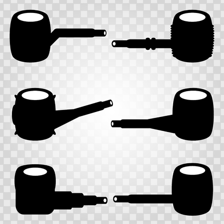 pipe smoking: pipe smoking collection of monochrome icons Illustration