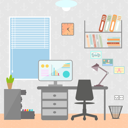 home office interior: Flat design vector illustration of modern home office interior