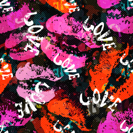 colour pencil: Graffiti Valentine Day on a black background seamless background texture grunge