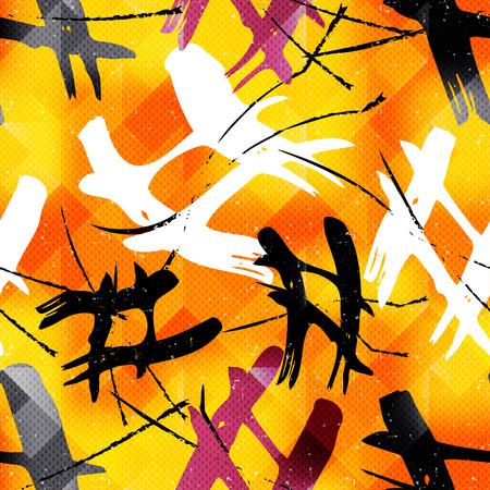 urban background: Graffiti abstract seamless pattern grunge effect vector illustration