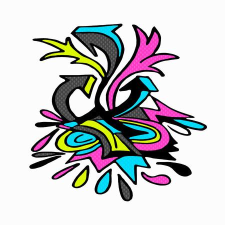 kandinsky: graffiti isolated object on a white background vector illustration