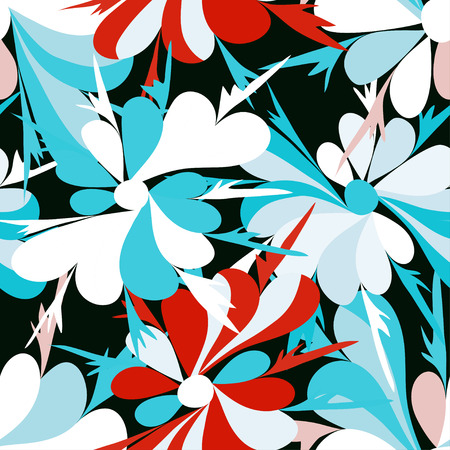 petite fleurs: small flowers on red background seamless pattern