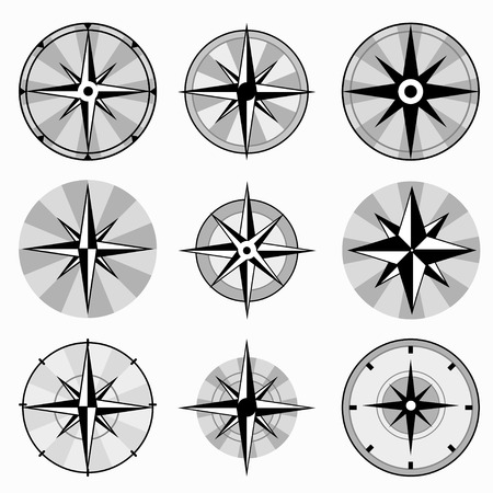 esp: wind rose collection of monochrome icons