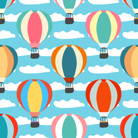 air balloons and clouds seamless pattern