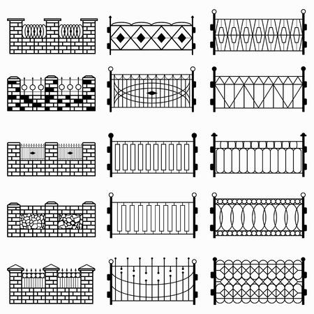 iron defense: black fence isolated symbols