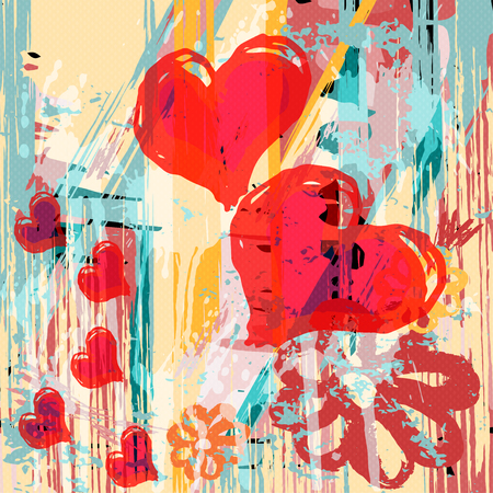 Heart abstract psychedelic background graffiti grunge texture