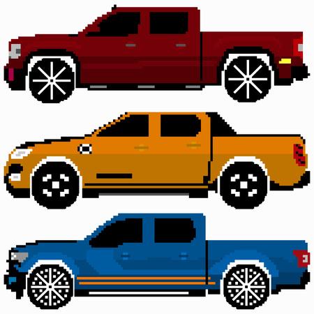 volkswagen: colored cars collection vector pixel art