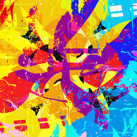 retro backgrounds: psychedelic abstract colored graffiti background Illustration