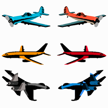 boeing: colored pixel art planes collection Illustration
