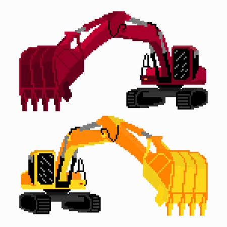 earth mover: pixel art colored excavators