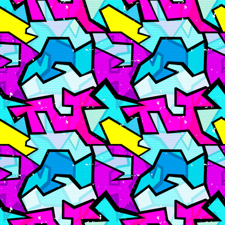 ethnical: grunge colored graffiti seamless pattern