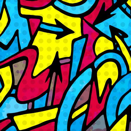 サイケデリックな抽象的な色落書き背景  イラスト・ベクター素材