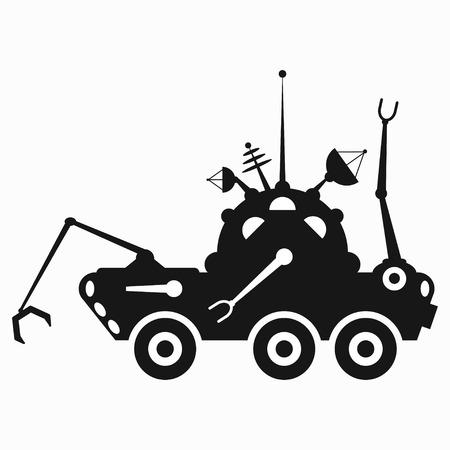 lunar rover: Black and white graphic illustration lunar rover